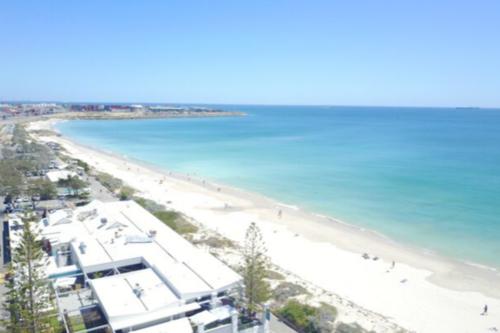Aerial view of Coast Port Beach in Fremantle Perth
