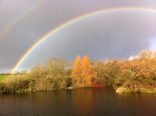Double rainbow at the lake.  Come and find our little pot of gold.....