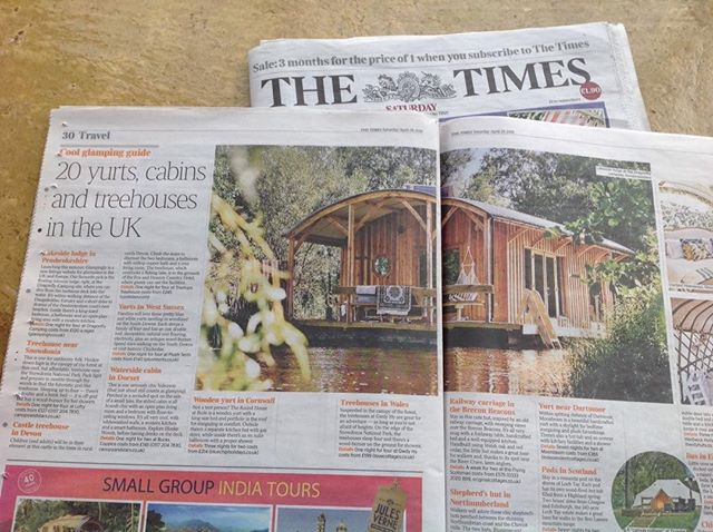 Thrilled to bits to be voted favourite glamping pick by The Times travel section today