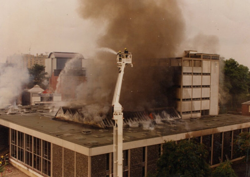 Norwich Central Library ablaze on 1st August 1994