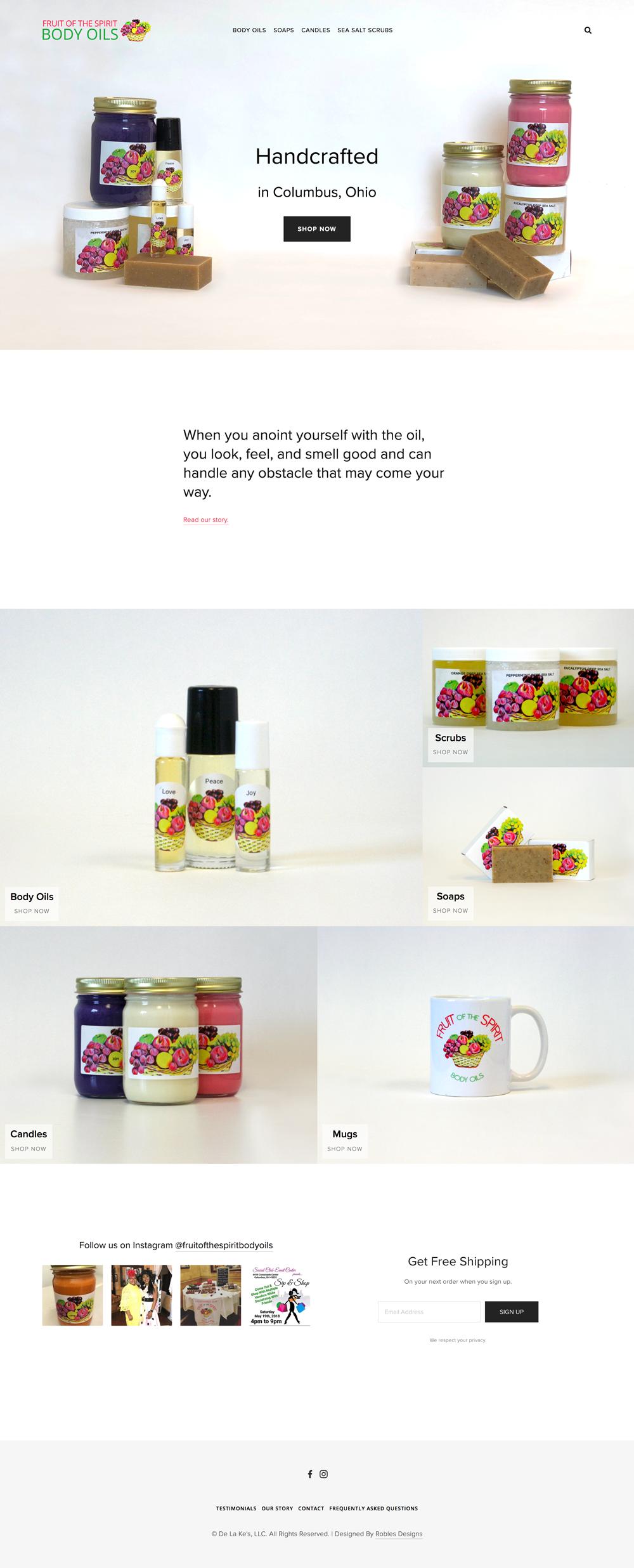 Fruit of the Spirit Body Oils Website