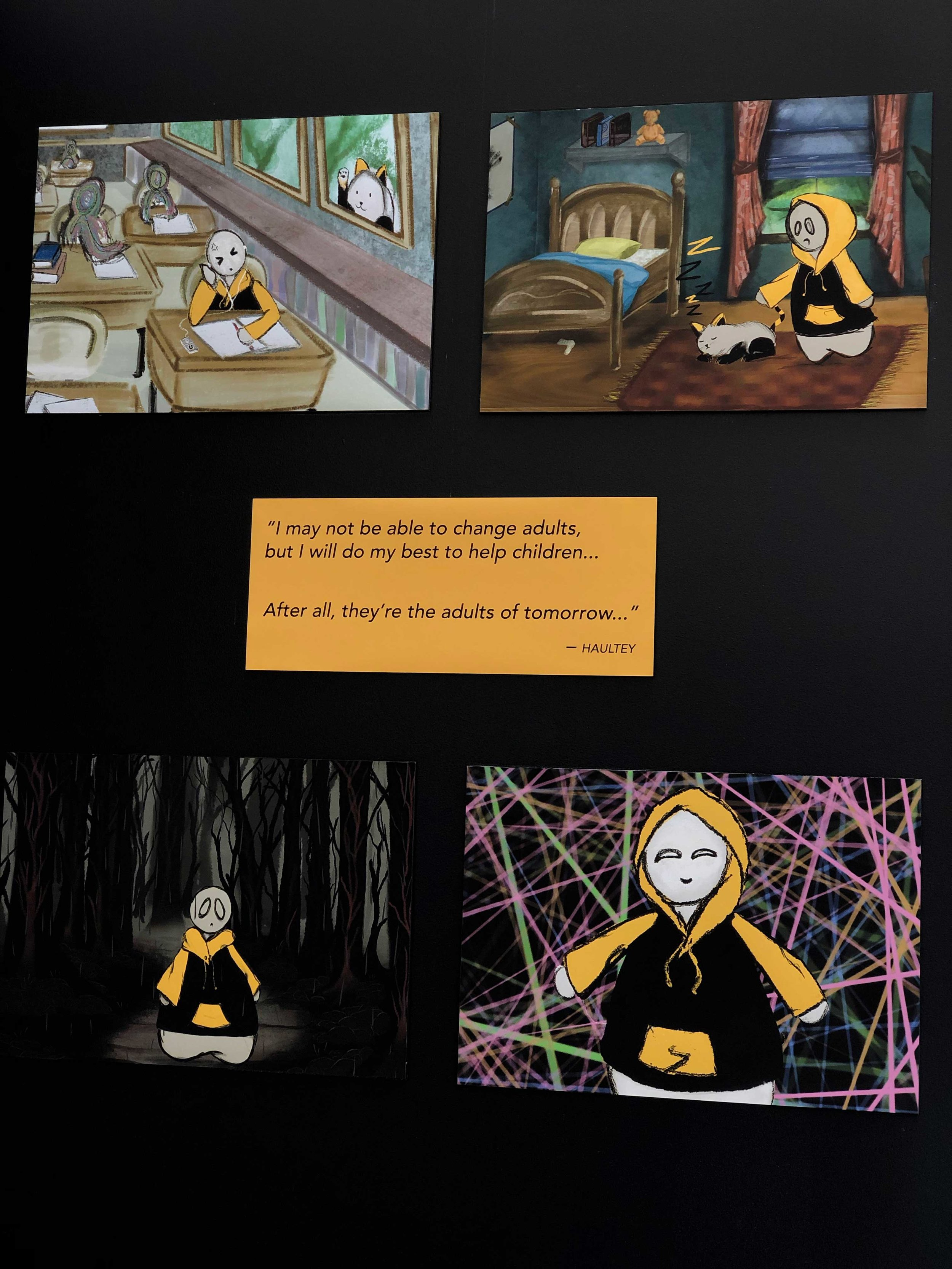 The four posters of the animation + Haultey quote.