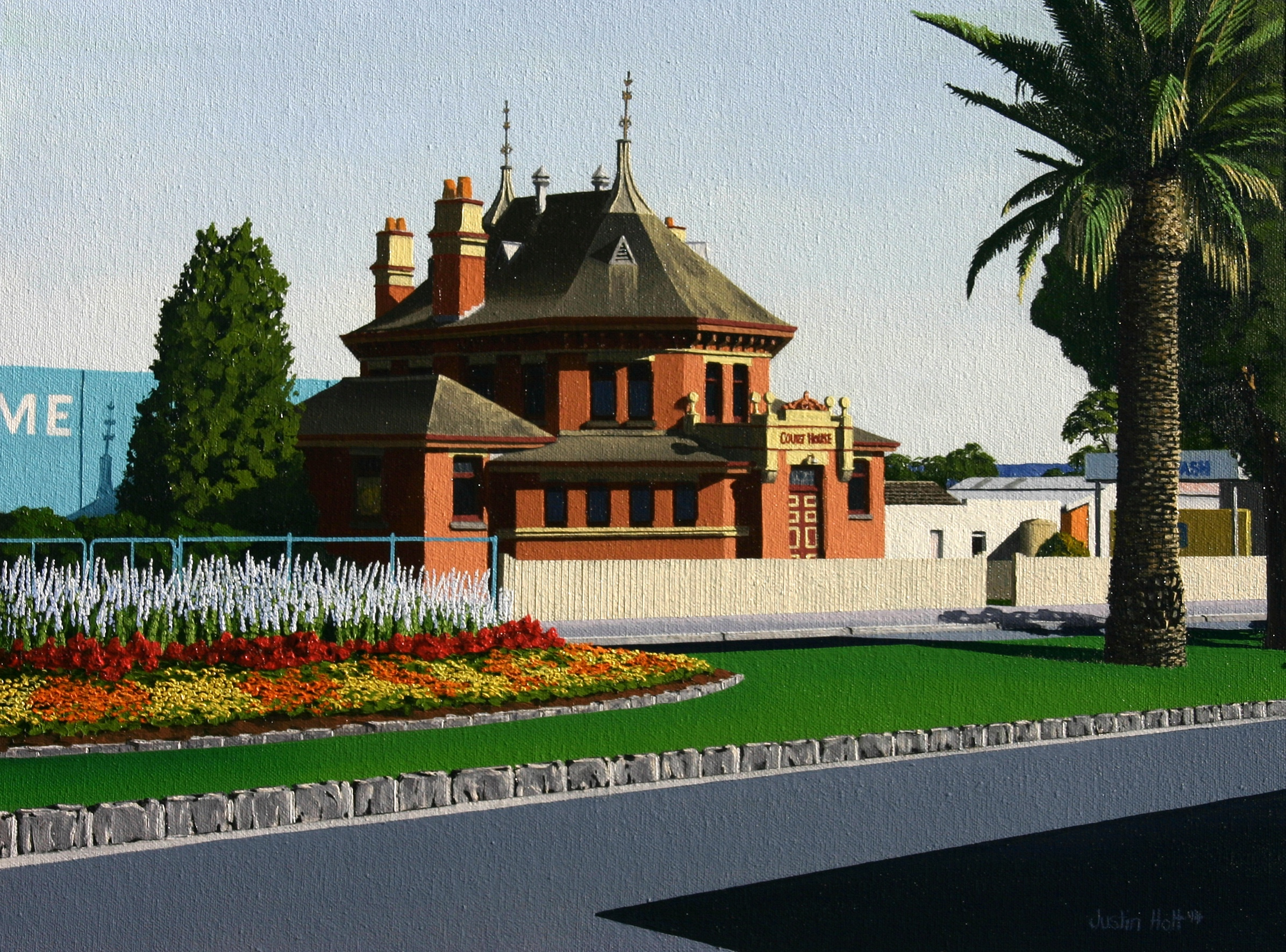 """Yarram Courthouse"", Oil on Canvas, ©Justin Holt"