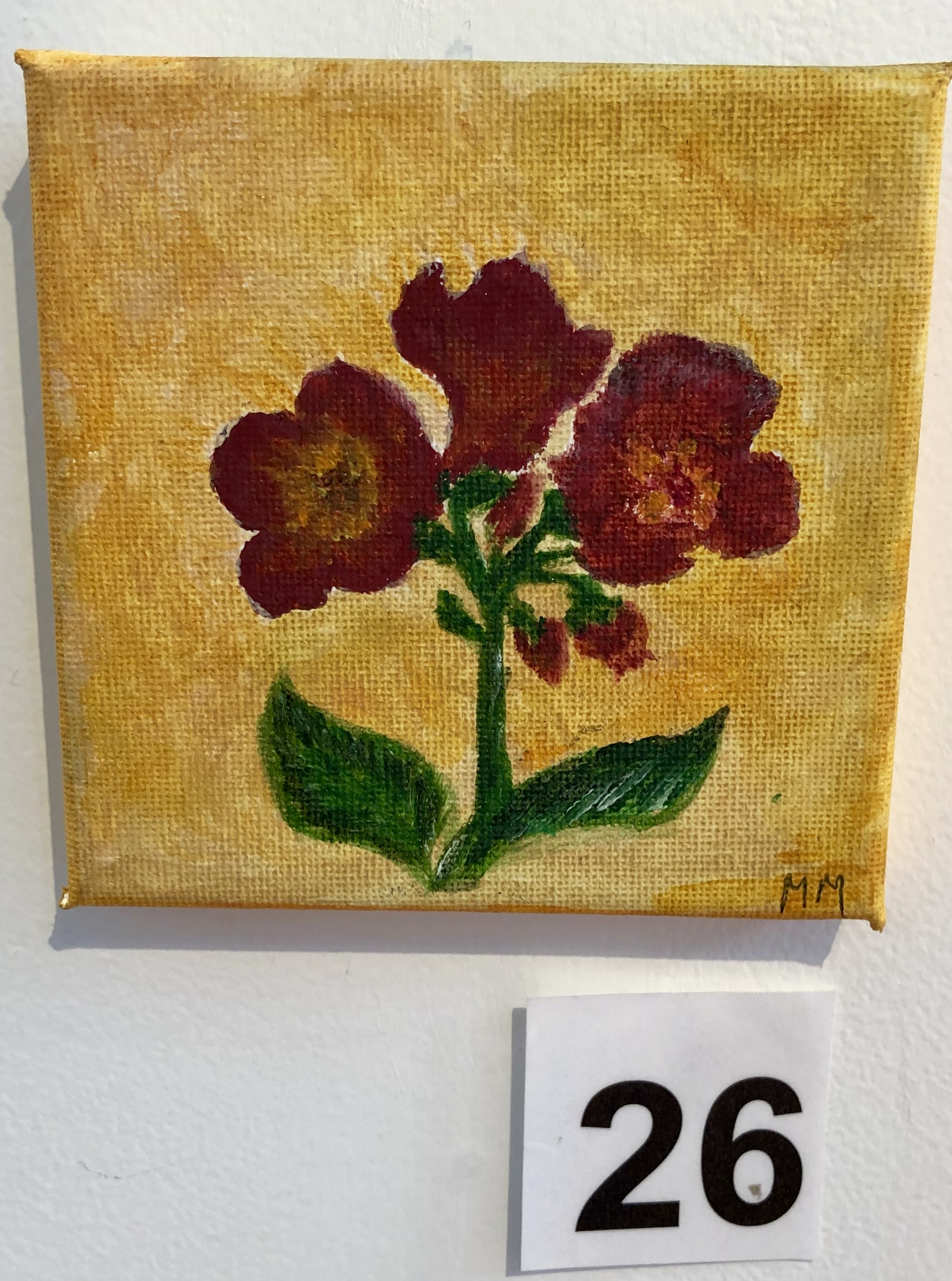 """Flowers on a yellow background"" by Mary Montague"