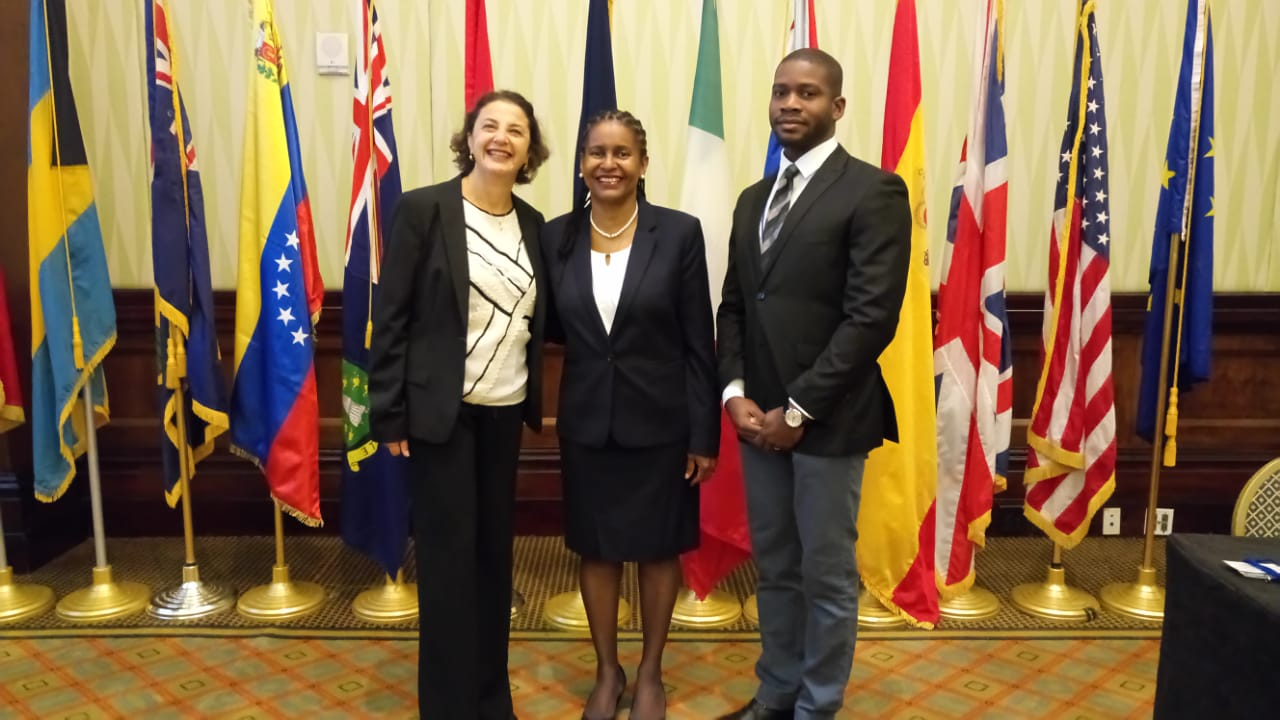 Ms Daniela Tramacere, EU Ambassador to Barbados, Ms Dawne Spicer, Executive Director, CFATF and Mr. Andrew Frection, Project Manager, CFATF meet at the CFATF XLVIII Plenary in Barbados ahead of upcoming action under the 11th EDF.