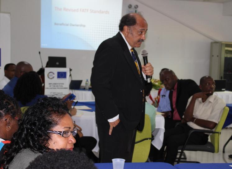 Financial Advisor, CFATF Secretariat Mr. Roger Hernandez responds to technical queries posed by participants.