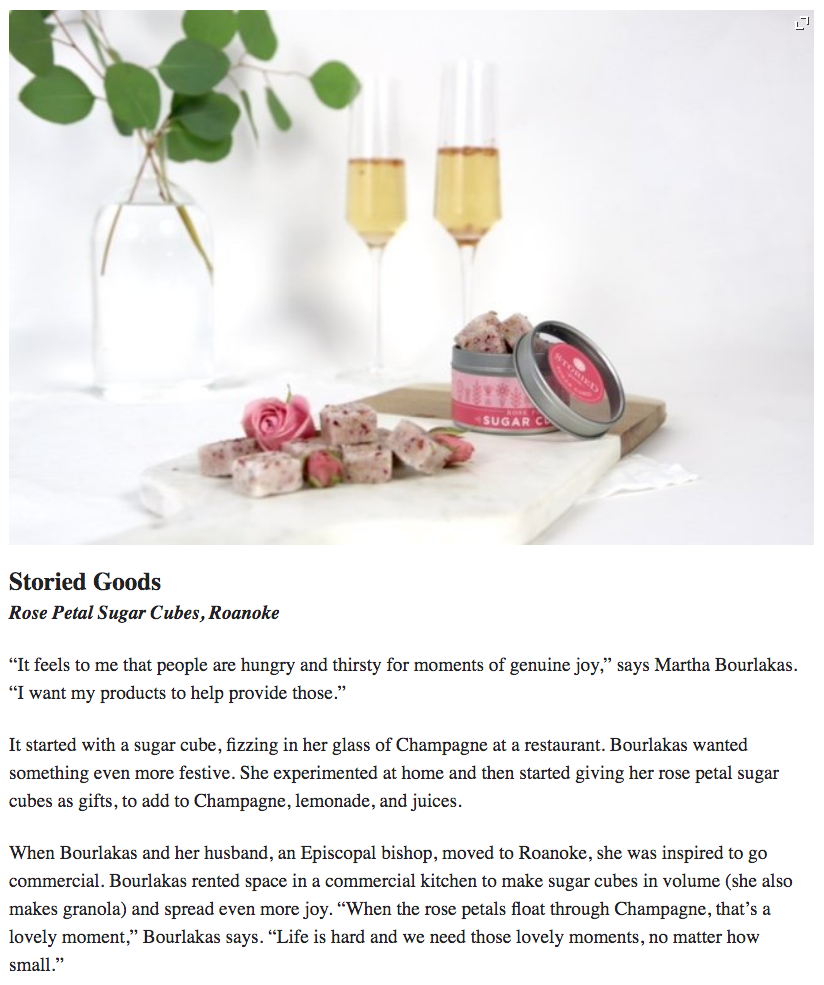 Image of Made in Virginia Awards' Article about Storied Goods' Rose Petal Sugar Cube for Cocktails and Sparkling Wine