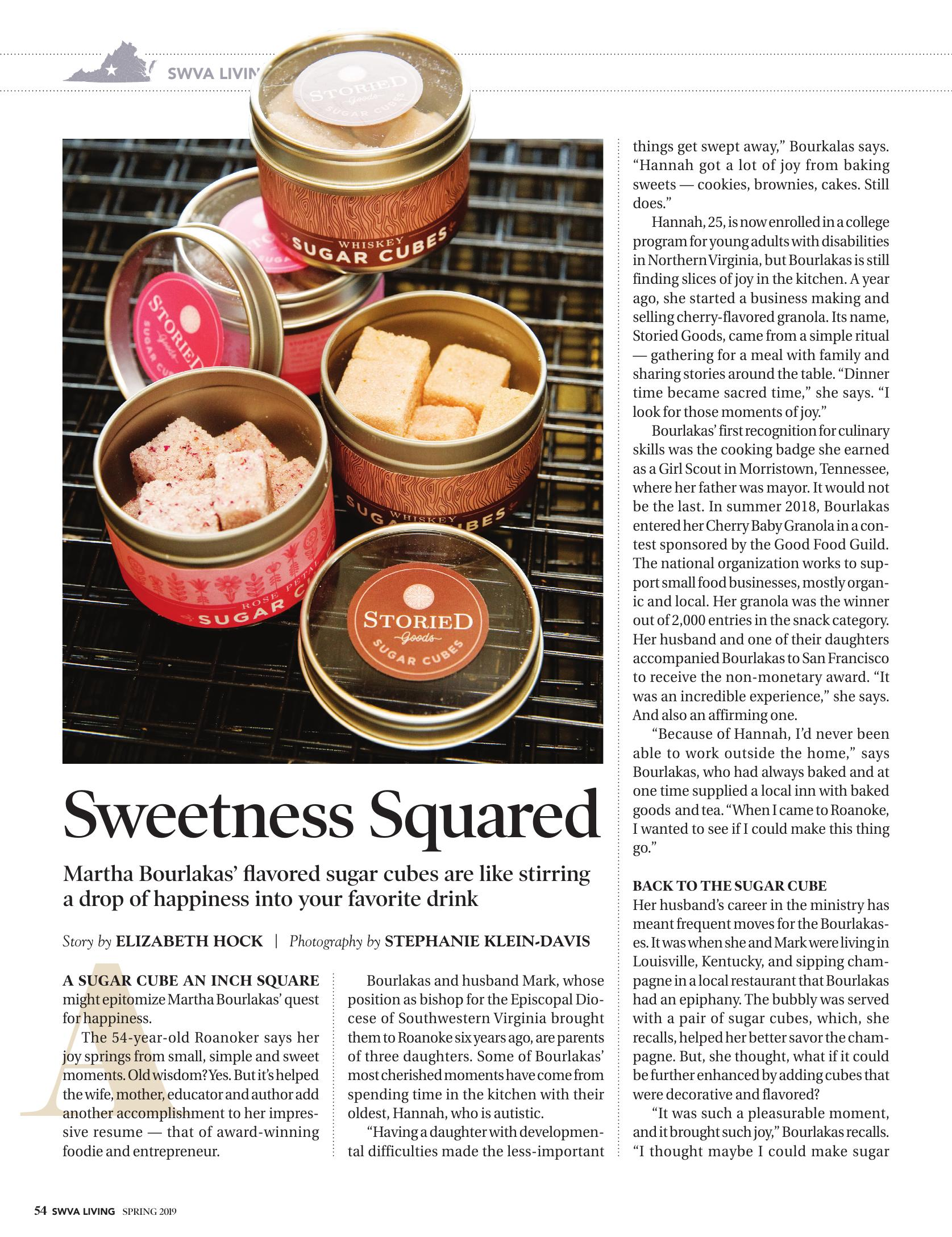Image of Article from SWVA Living Magazine for Storied Goods' Award Winning Sugar Cubes