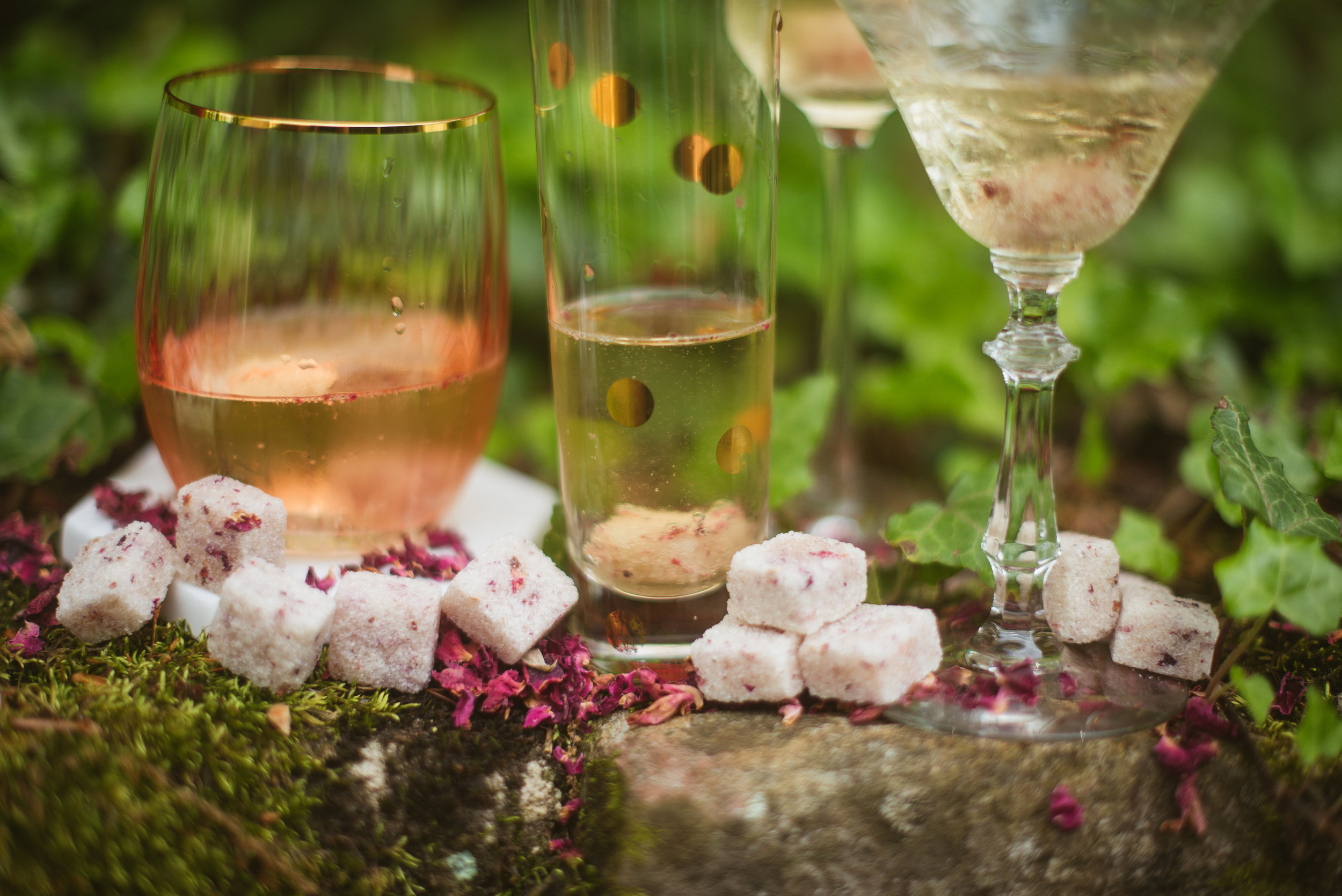 Sparkling Rose Cocktail - Pour a glass of your favorite dry Champagne or other sparkling wine. Place one Rose Petal Sugar Cube in your glass. Savor the bubbles and the rose petal bouquet.