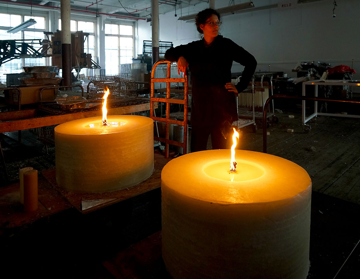 500 lb candle tests for  In Praise of Shadows  at Ymittos Candles in Lowell, MA