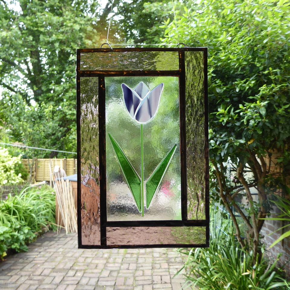Pink tulip window panel