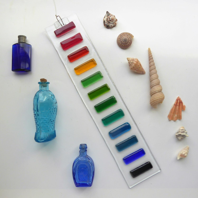 Rainbow fused glass suncatcher