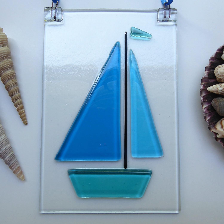 Bright blue sailboat suncatcher
