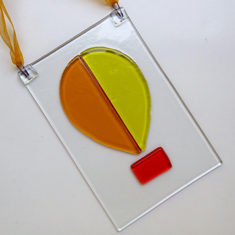 Yellow hot air balloon suncatcher