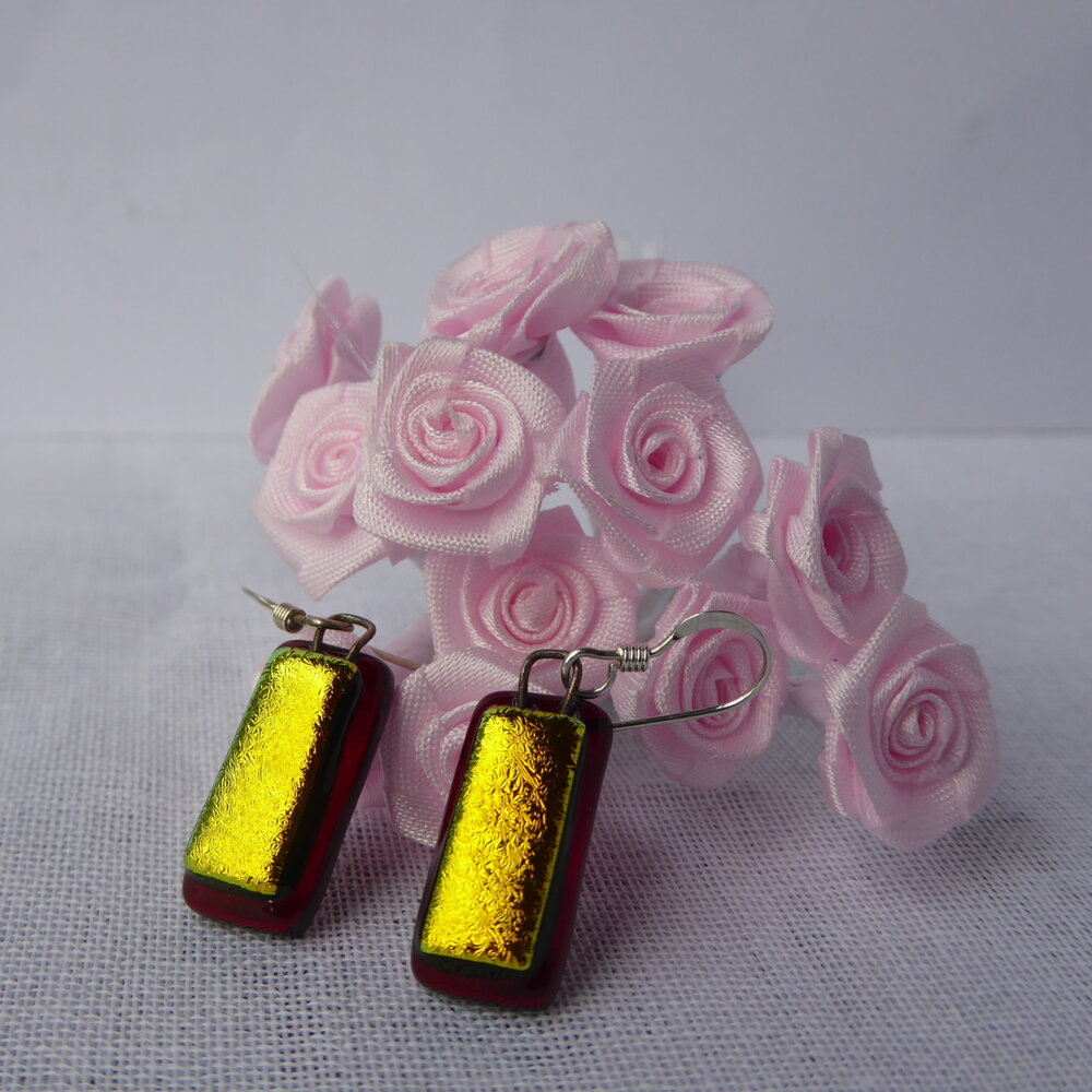 Gold on ruby red earrings