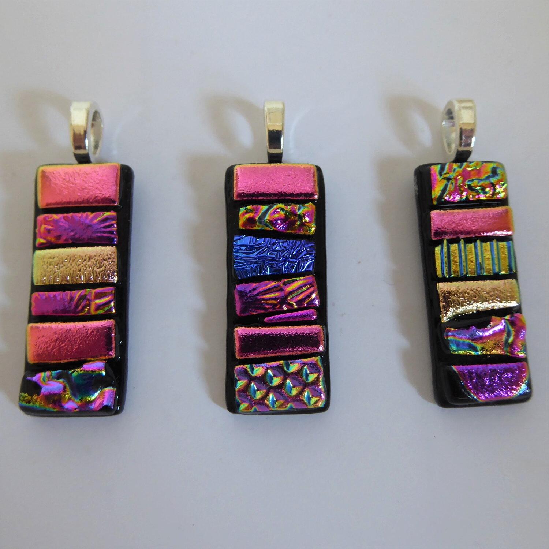 Pink mosaic pendants