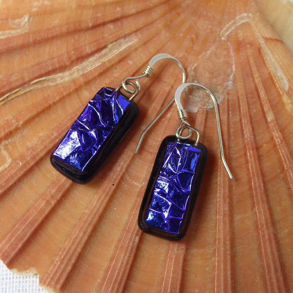 Prismatic blue-black earrings