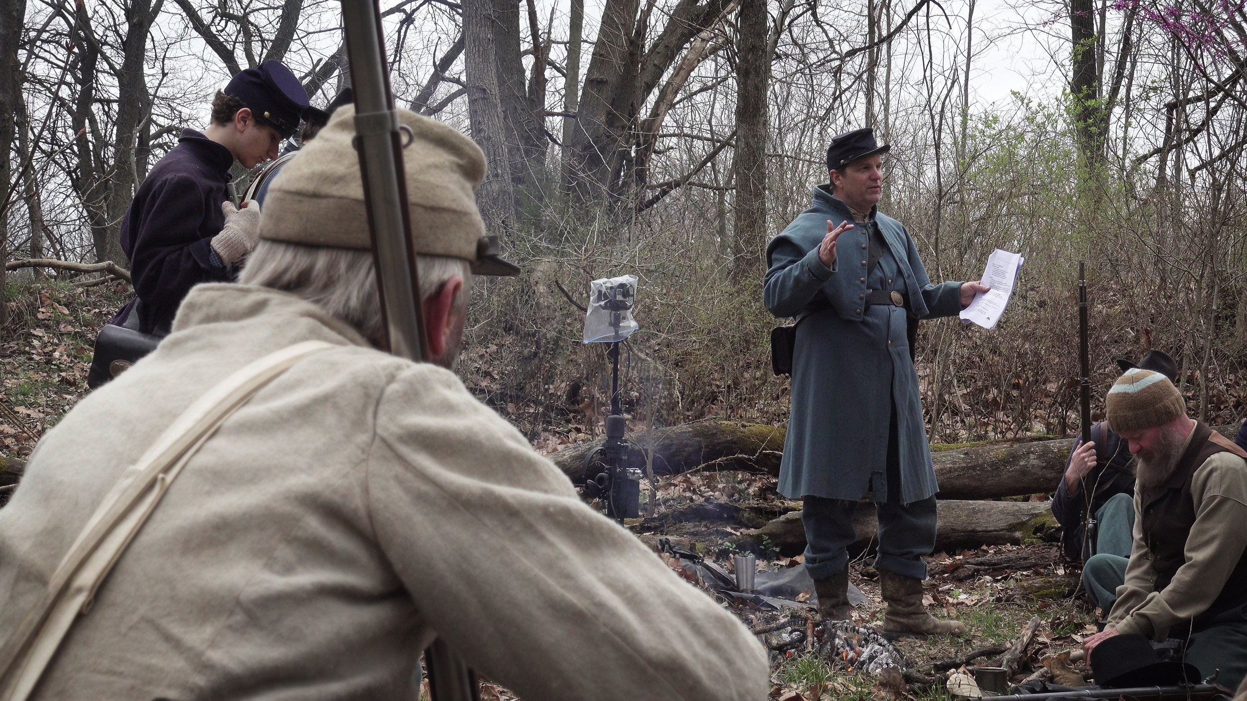 Shane Seley in center dressed as union soldier directing actors