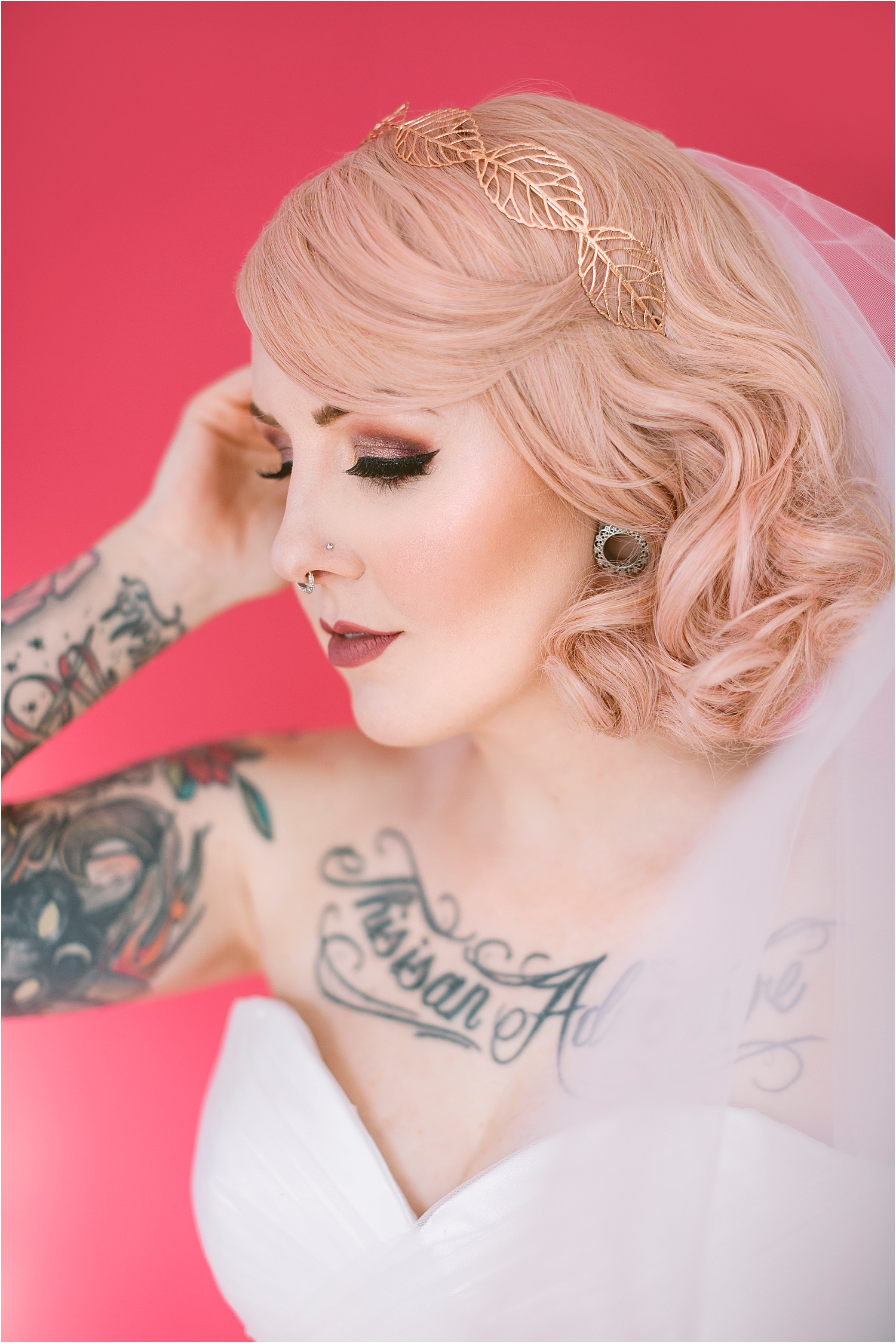pink backdrop bridal shoot