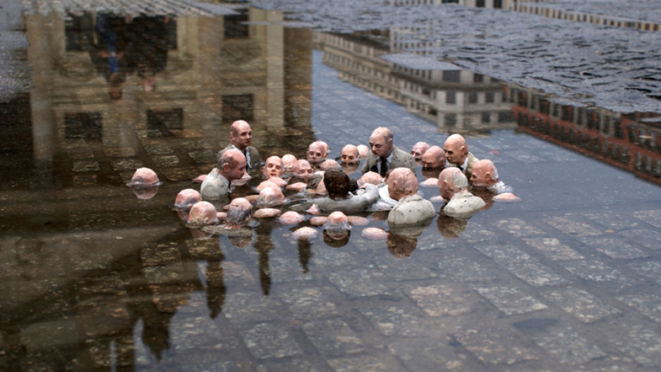 Isaac Cordal's powerful sculpture which went viral in 2011 depicts politicians discussing global warming