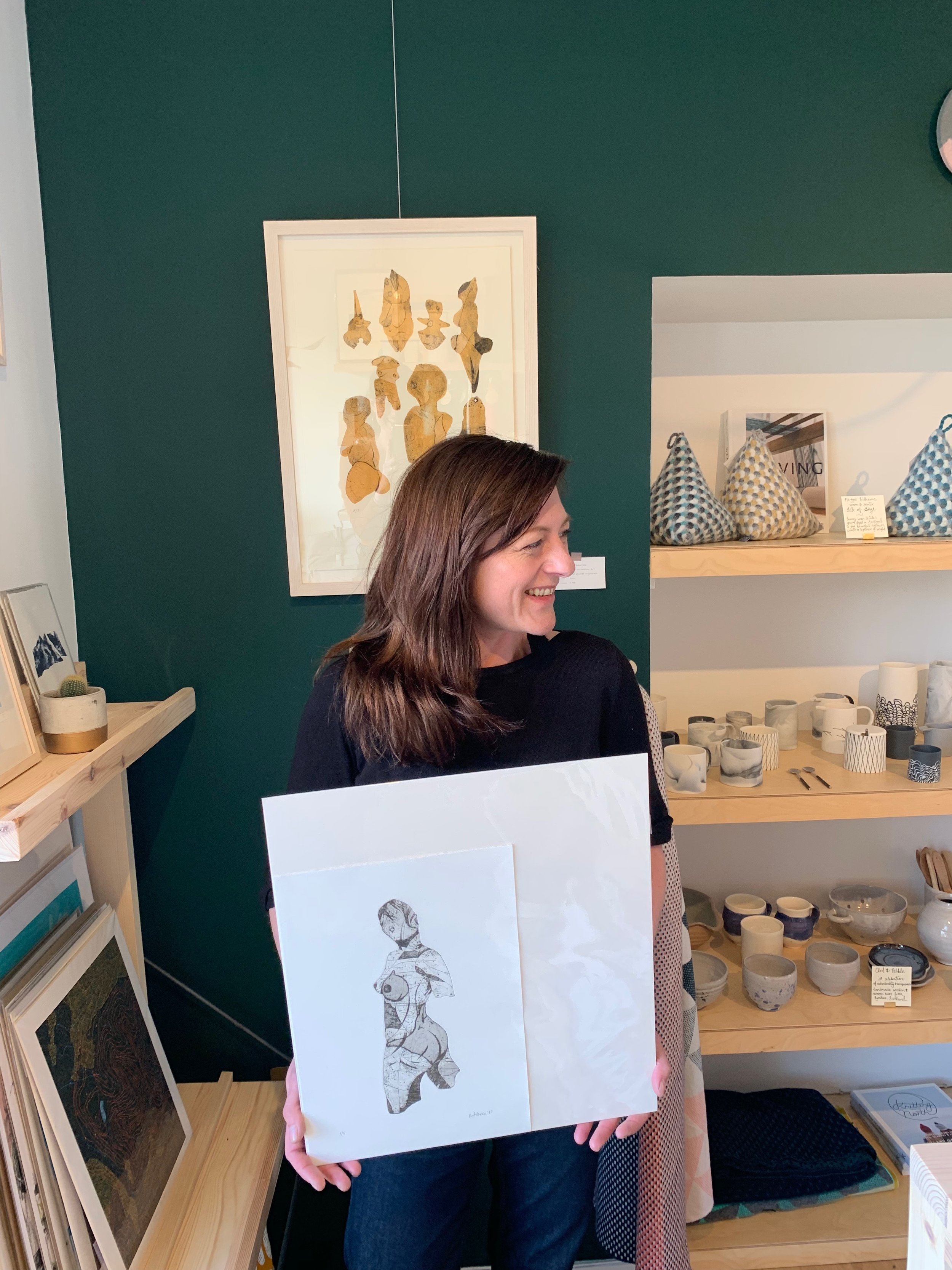 Kate with her series of prints 'Vague Deities' , small unframed prints from £90
