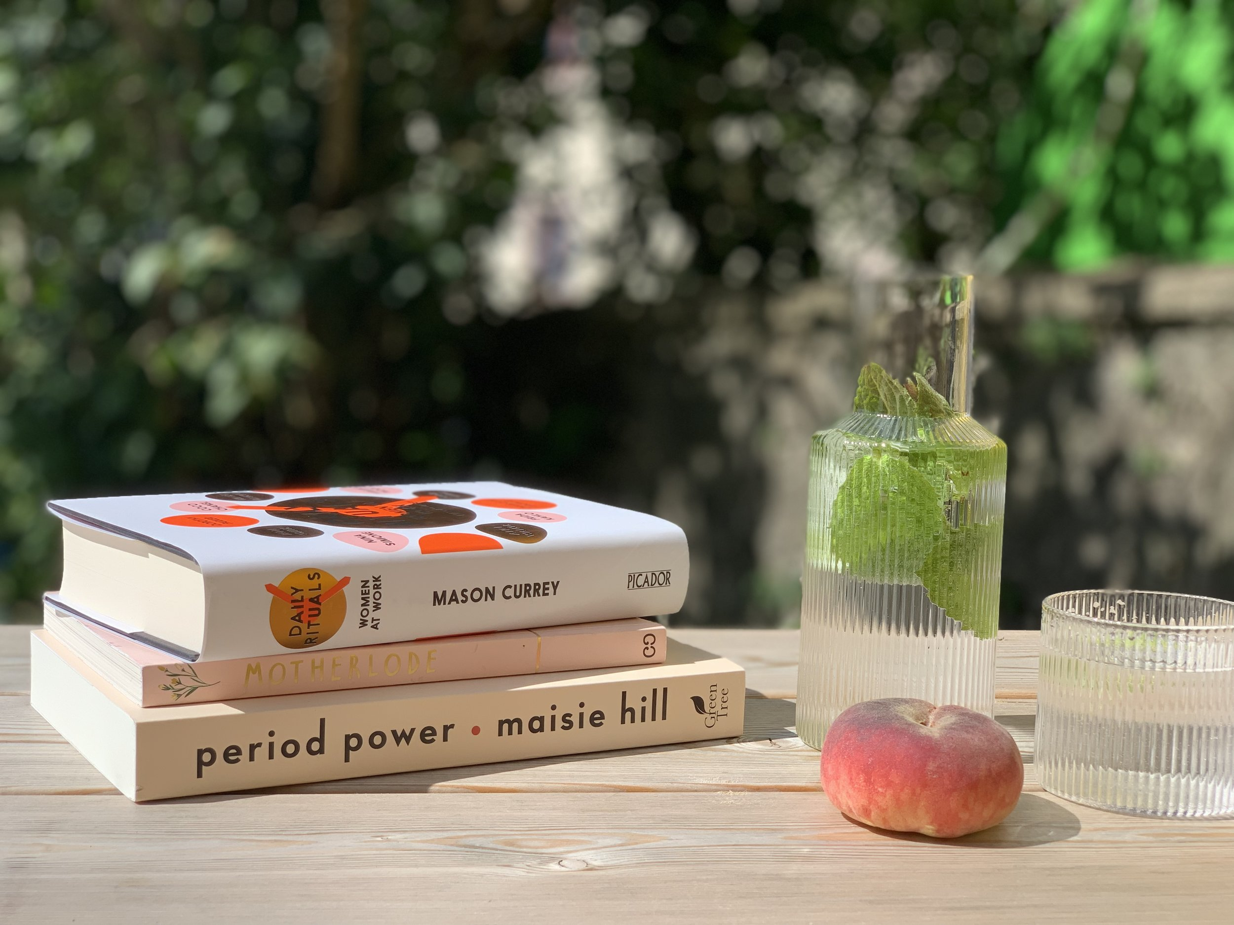 Period Power - Maisie Hill, Motherlode - Georgie McAusland, Daily Rituals/Women at Work - Mason Currey, Ferm Living 'ripple' carafe and glasses, all available at ÒR