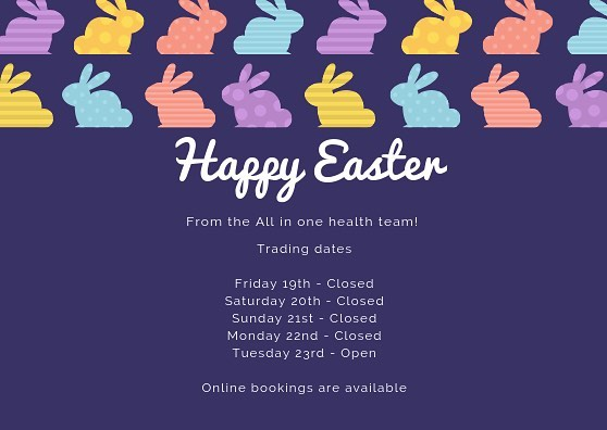 Wishing you all a Happy Easter!  #easter #holiday #alliedhealth #allinonehealth #bunnies #4locations #podiatry #physio #diet #exercisephys #health #fitness #wellness #diabeteseducation #team #peoplefirst