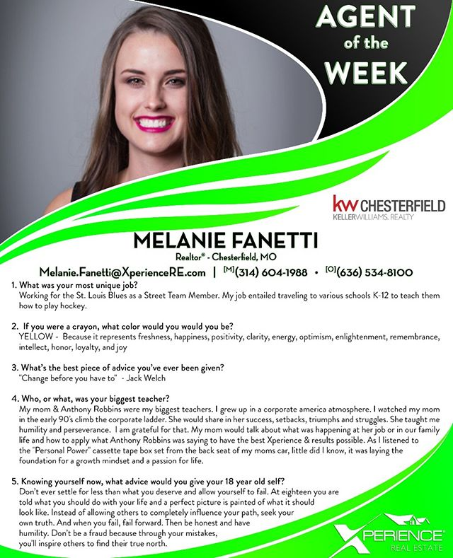 @melanie_fanetti is this week's Xperience #AgentoftheWeek! If only we could all go back in time and give our 18 year old selves this advice... #wisdom #XperienceGrowth #dothework #ChesterfieldMO