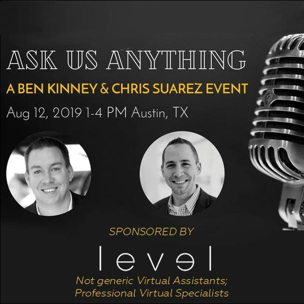 EARLY BIRD SPECIAL ENDS AT MIDNIGHT! SAVE $50!! Join Chris Suarez and Ben Kinney LIVE for an #unrehearsed and #unscripted Ask Us Anything! These two powerhouses will answer questions from each other and from YOU! Tickets are selling out FAST! Get yours now! - HUGE thank you to our sponsor, @levelvirtualspecialists for making this event possible! - http://ow.ly/gaqx50uZCH0 - #XperienceGrowth #AskUsAnything #BenKinney #ChrisSuarez