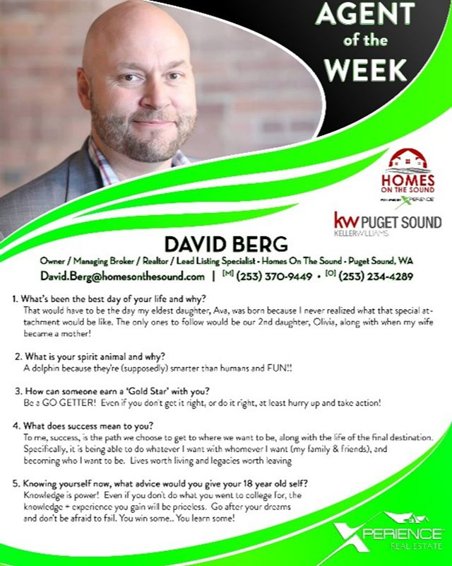 This week's Xperience #AgentoftheWeek is @homes_on_the_sound Owner, David Berg! Please join us in congratulating David, and learn more about him below!  If you or someone you know is looking for an agent in the #PugetSound #WashingtonState area, give David a call today! #XperienceGrowth #LocalRealEstateExpert