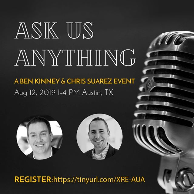 "We are so Xcited for this event the Monday before #MegaCamp in Austin! Chris Suarez and Ben Kinney are hosting another event together and this one will be incredible. Chris & Ben are interviewing each other on leadership & life… Then, they will take audience questions for a true ""As Us Anything""  These guys are so open, honest and real that we cannot wait to learn so much from what they're going to share. See you there! #XperienceGrowth #Askusanything  Tickets are going FAST, don't miss out! Get your ticket now before they sell out!  https://tinyurl.com/XRE-AUA"