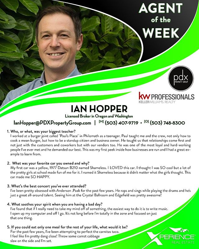 This week's Xperience Agent of the Week is Ian Hopper  with our @PDXPropertyGrp team in Portland, OR! Please join us in congratulating Ian and learning more about him below! #XperienceGrowth