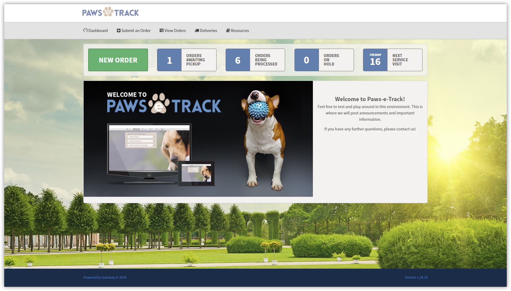 1 - Create an order - The Paws e-Track dashboard is what you see first, giving you insight into the status of all your clinic's orders.