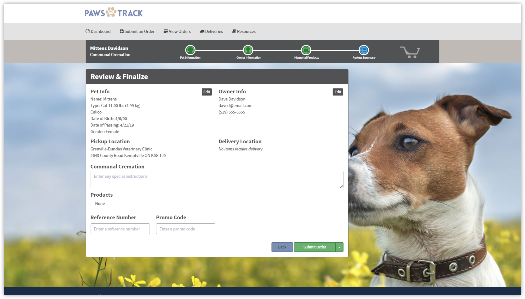 """5 - REVIEW & FINALIZE - The review page gives you a summary of the entire order including pet and owner info, cremation type, products and memorial items.To save an order, select """"Save & Hold""""You can remove the hold once you are ready to have the pet picked up."""