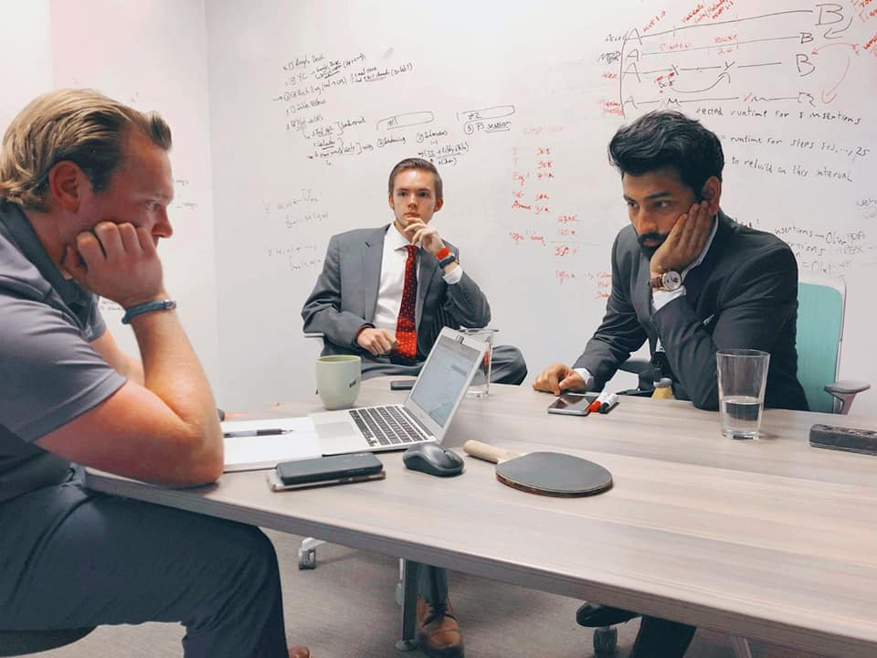 Founders Josiah Nelson and Tirthak Saha with advisor Aaron Greenwald at MIT