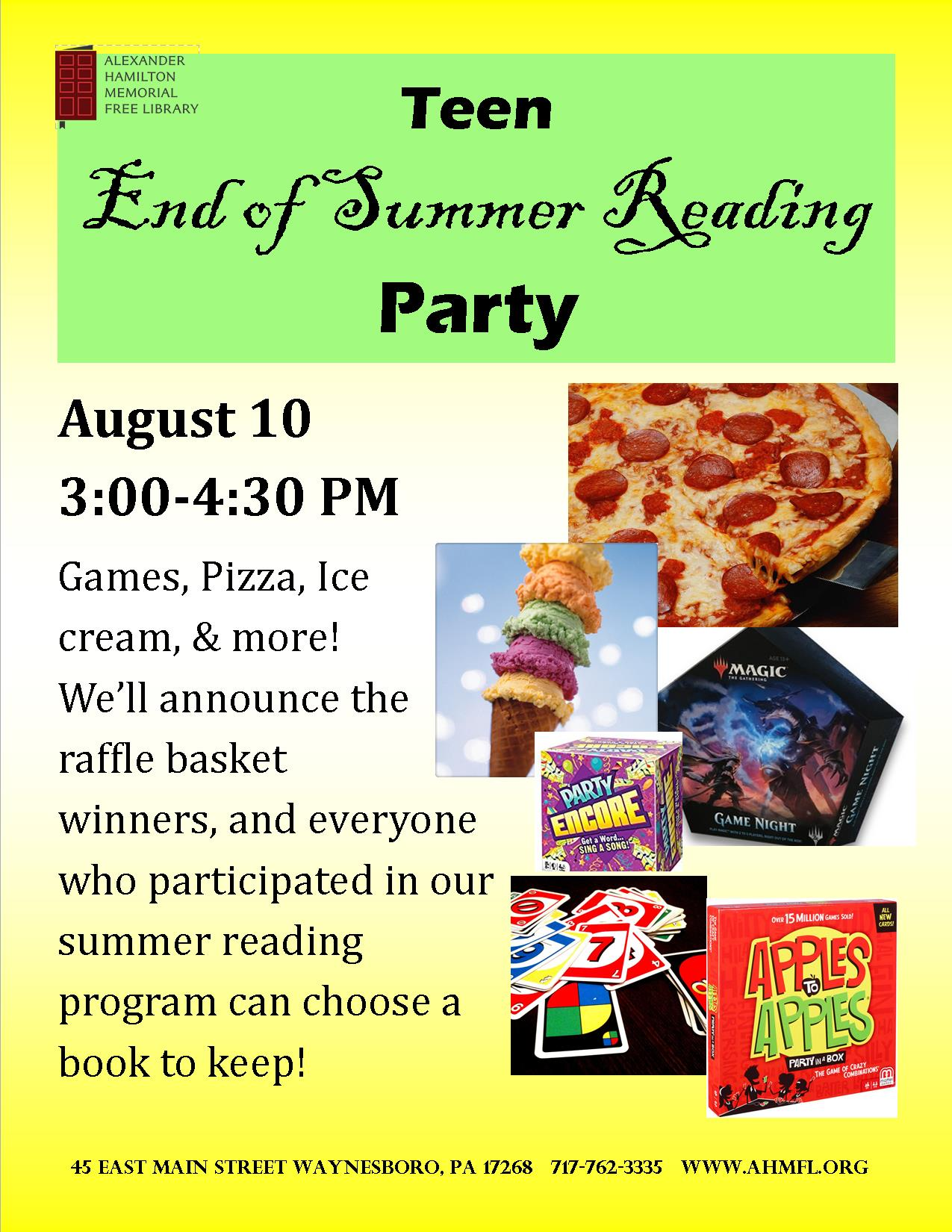 Teen End of Summer Reading Party flyer.jpg