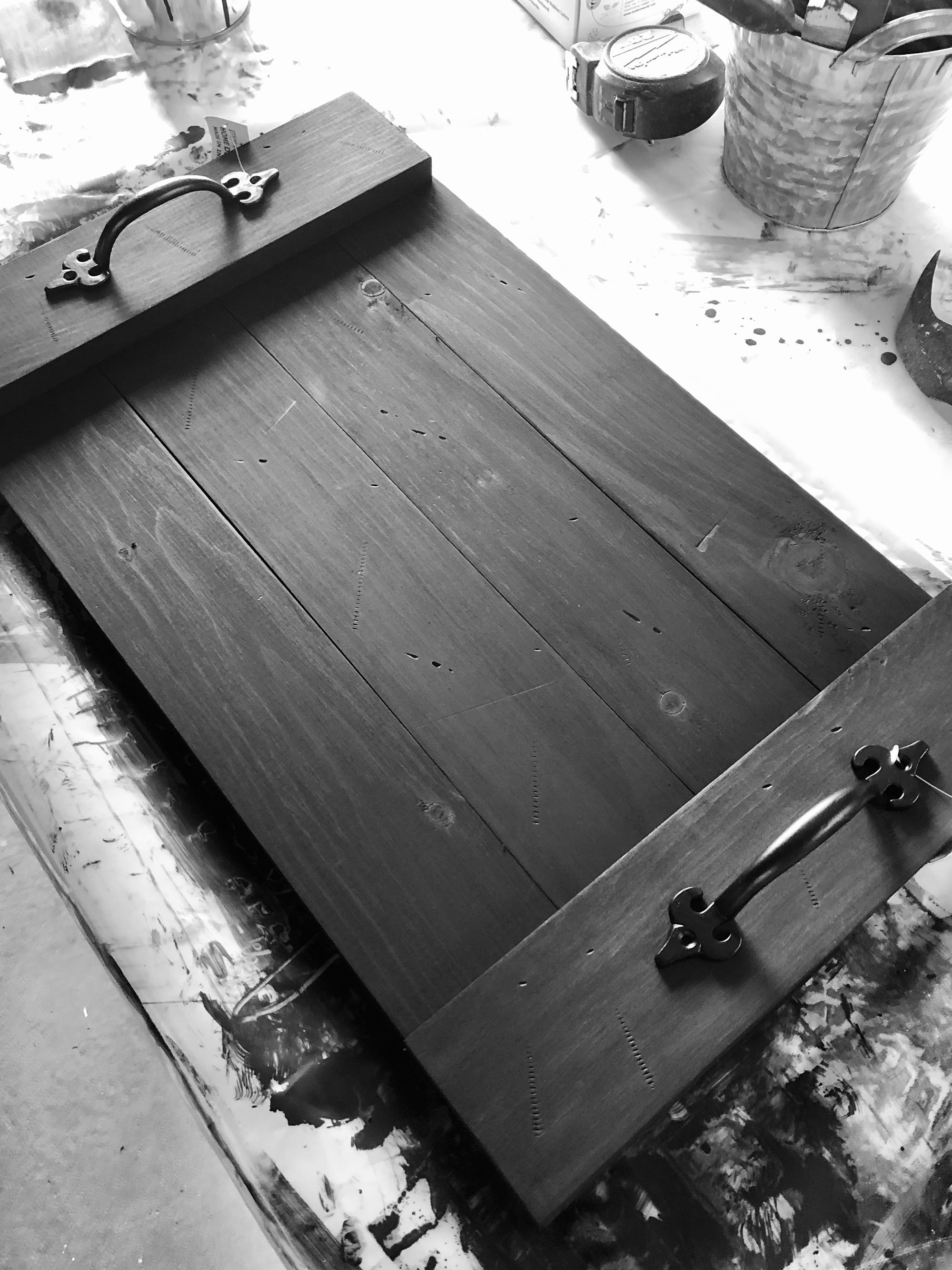 Stained wood tray at DIY workshop studio