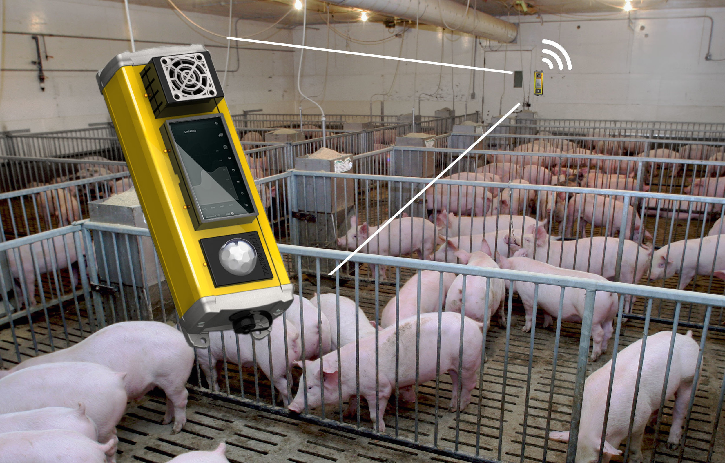 FARM SENSORS - No more unpleasant surprises. Set-up sensors to constantly monitor your animals and control your barns climate automatically. Or use smart measurement tools to track growth rates and medical records of each animal. All data synced. Precision farming at it's finest.<— Barn climate control sensors.