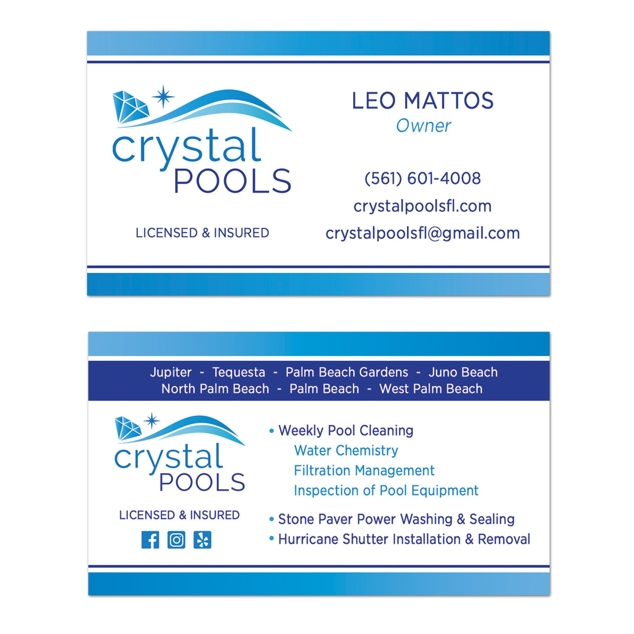 Crystal Pools Business Card Design