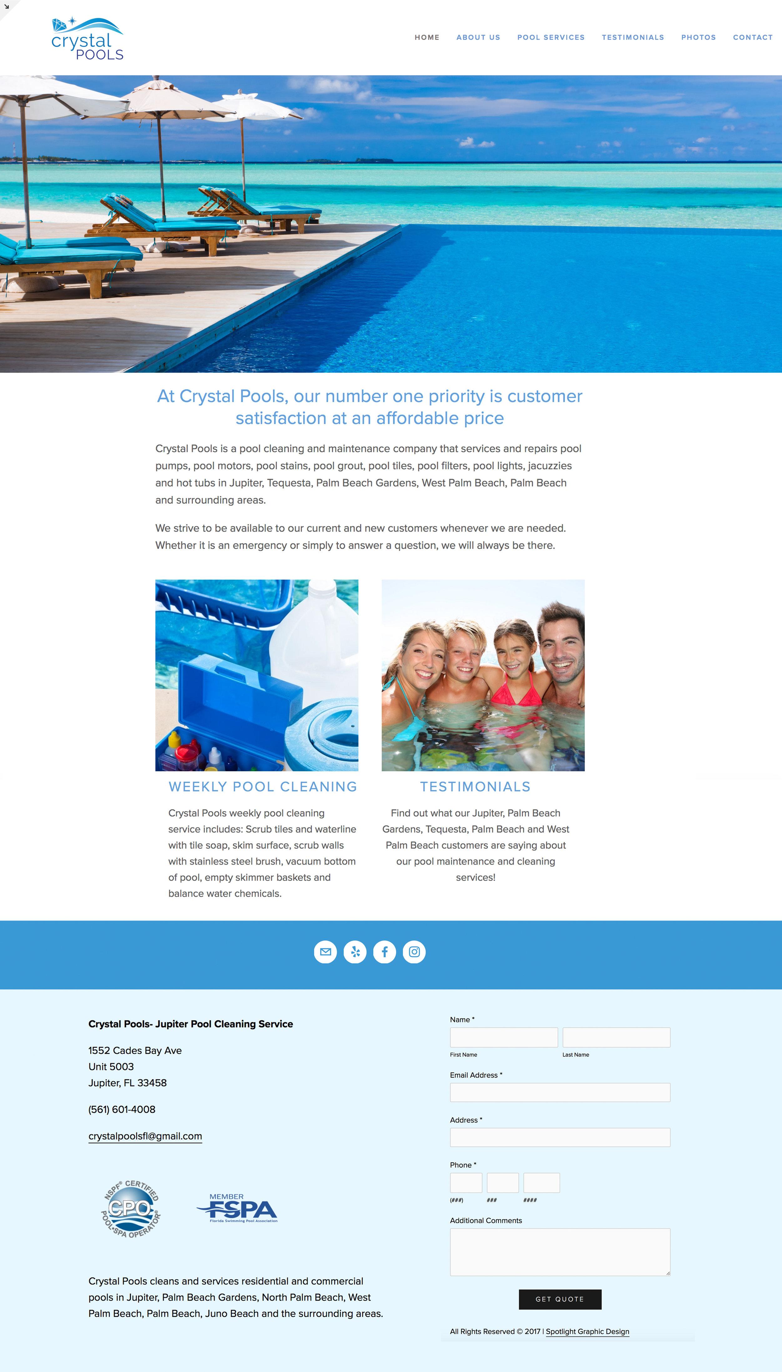 Crystal Pools Website Design