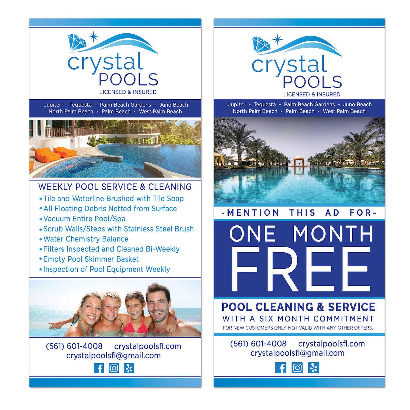 Crystal Pools Rack Card Design