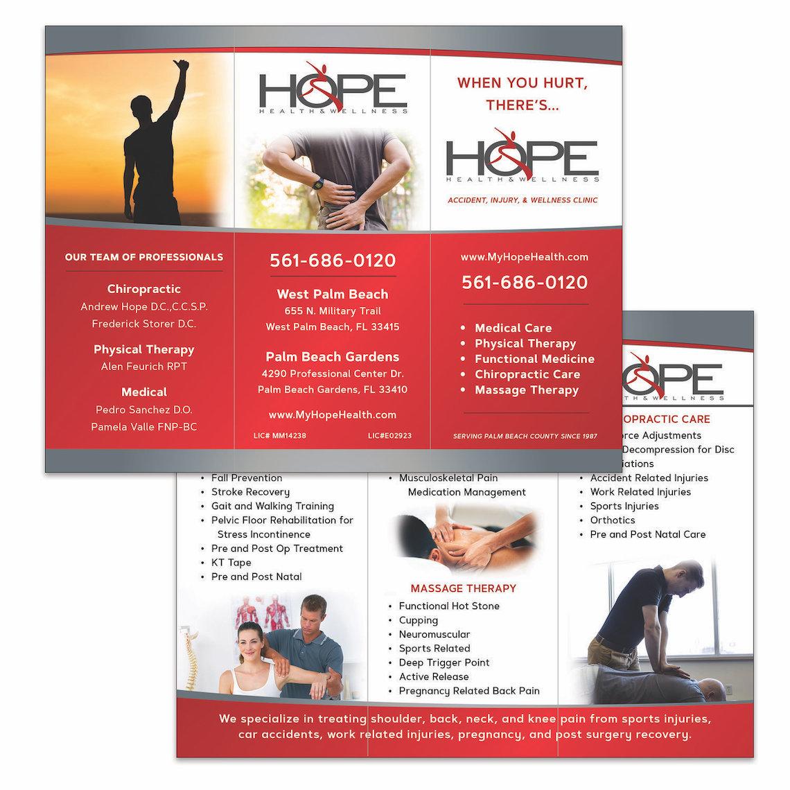 Wellness Clinic Trifold Brochure Design - West Palm Beach