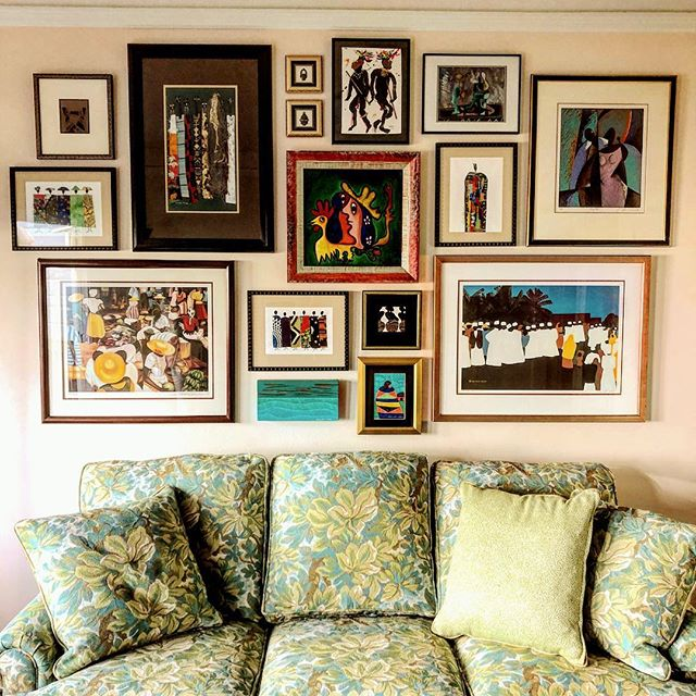 """Ready For the World"" is one of our recent installations, incorporating abstract and world art into a historic story piece of travel and culture. Are you ready to show the world your art? Tell us how we can help!  www.farberartservices.com  #farberartservices #wellhung #artinstallation #picturehanging #homecuration #artintoinspiration #readyfortheworld #storywall"