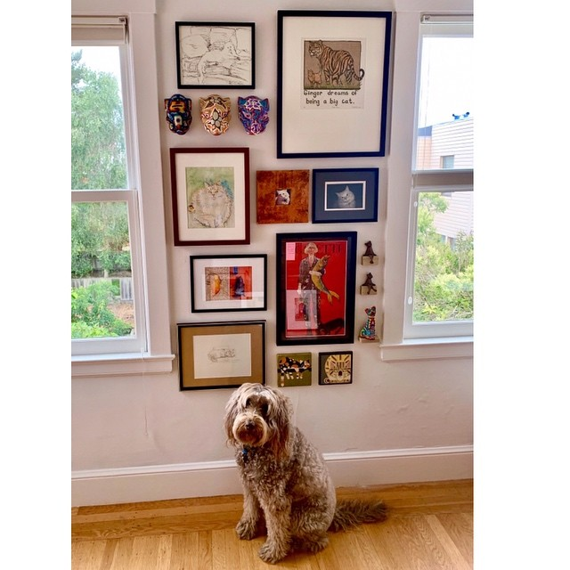 """Our Best Friends"" extended family collage is our client's homage to the unconditional love of their furry family. Have you been looking for a way to share your fondest memories of your pets with this story wall? We would love to create this for you. Let us know if we can help! #furryfamily #petsofinstagram #animalbestfriends #animalart #arttoinspiration #artinstallations #picturehanging #artinstallation #homecuration"
