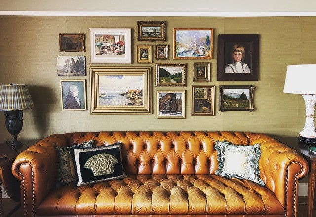 """Classical Musings"" is our recent oil painting collage, with a nod to simpler times and classical refinement telling a story of developments through the ages. Let Farber Art Services bring your eclectic collections together into one stunning masterpiece. Truly a wow wall. #wowwall #homecuration #artinstallation #picturehanging #arttoinspiration #classicalmusings #farberartservices"