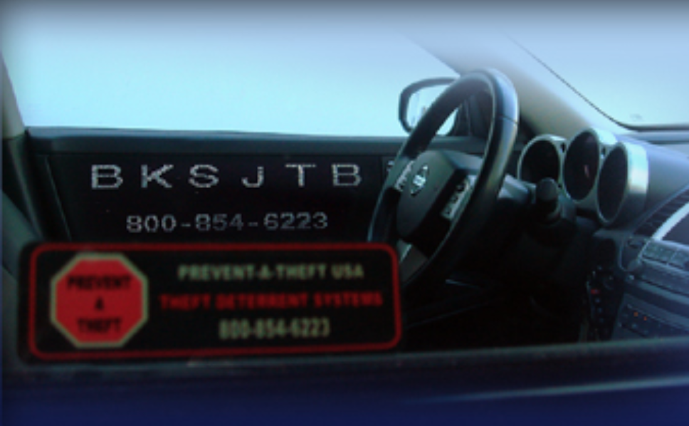 """ETCH - With the Prevent-A-Theft™ Etch,the glass windows of your vehicle are permanently etched with a traceable pre-selected unique code or the actual Vehicle Identification Number (in states where required), plus our Nationwide toll free """"800"""" phone number. Prominent, highly visible warning decals signal to thieves your vehicle is permanently identified and protected against theft."""