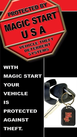 Magic Start - Magic Start™ is a passive theft deterrent system that can foil car-jackers and prevent would-be thieves from stealing the protected vehicle. An encapsulated computer coded microchip sealed in a custom key Fob transmits a unique I.D. code to the hidden micro-processor, which activates or deactivates the starter system. An audible beeping sequence informs the operator of the system's status: armed, deactivated and Valet Mode.