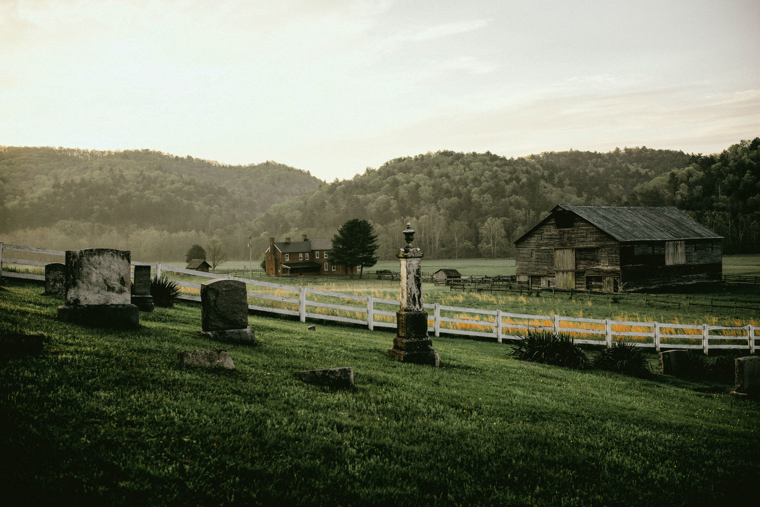 pictured above: overlooking the historic McClung House and Farm from inside the Clover Creek Presbyterian Church graveyard.
