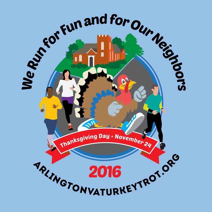 2016 Arlington Turkey Trot T-shirt design
