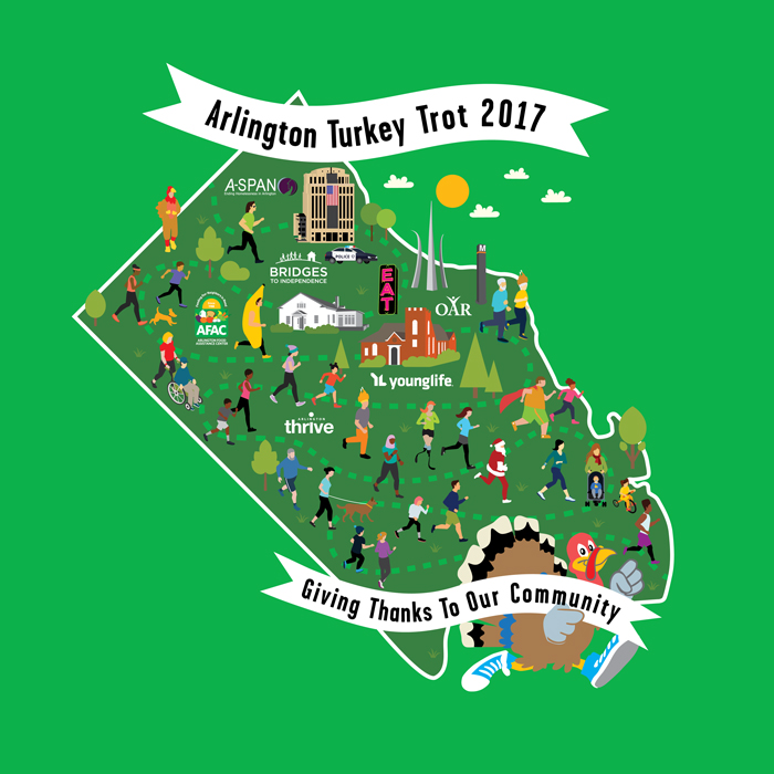 2017 Arlington Turkey Trot T-shirt design